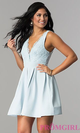 d8f0cdafb6c Short Lace-Bodice V-Neck Homecoming Party Dress