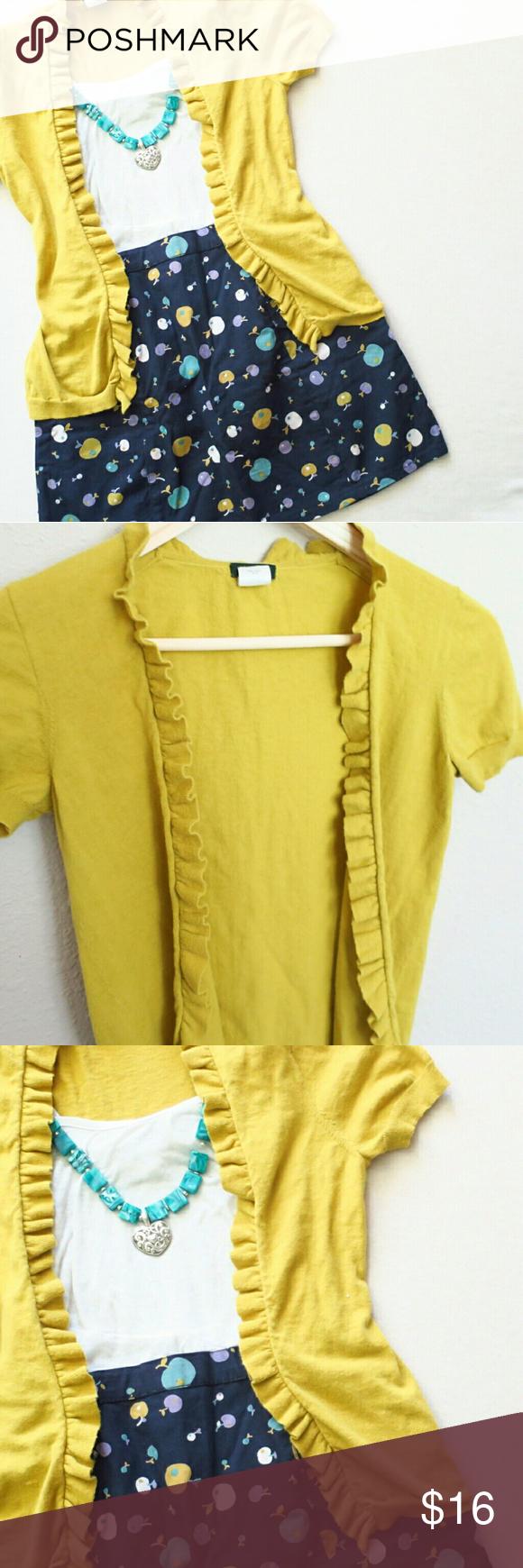 J.Crew Yellow Green Short Sleeve Ruffle Cardigan