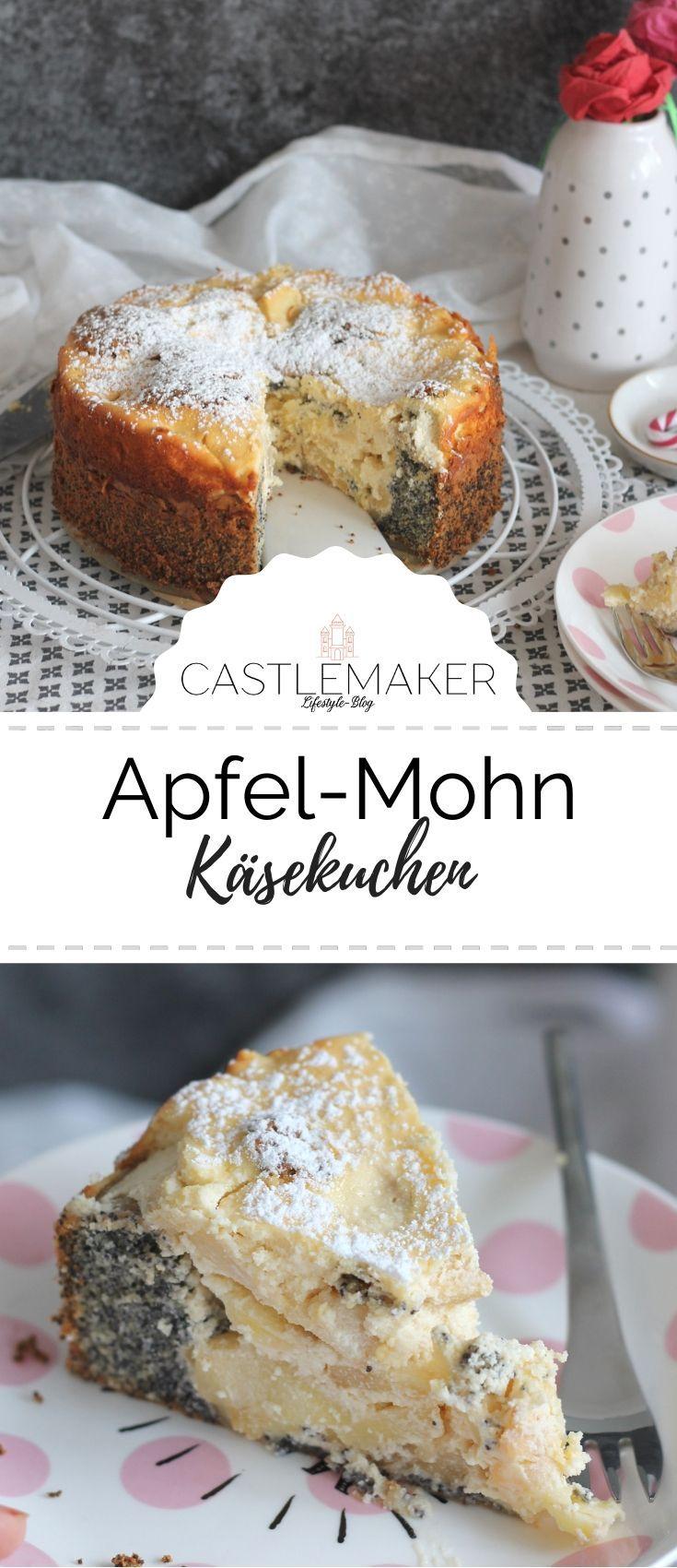 Dieser außergewöhnliche Käsekuchen mit Mohn besteht aus zwei Schichten, die ineinanderlaufen und so ein tolles Muster beim Anschnitt ergeben. Der Apfel-Mohn-Käsekuchen geht einfach und bringt Abwechslung auf die Kaffeetafel. Das Rezept für den Mohnkuchen mit Quark & Äpfeln ist auf www.castlemaker.de   #mohnkuchen #apfelkuchen #käsekuchen #rezept #castlemaker