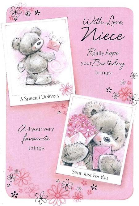 Teddy /& Mouse Cute Birthday Card Happy Birthday Cousin With Love