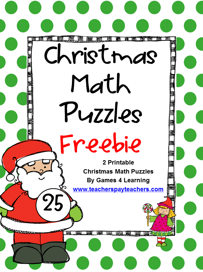 FREEBIE Christmas Math Puzzles by Games 4 Learning contains 2 ...