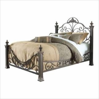Fashion Bed Group B11896 Baroque King Size Bed in Gilded Slate with Side Rails