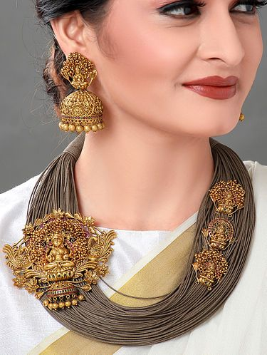 Buy Brown Gold Tone Necklace with Earrings (Set of