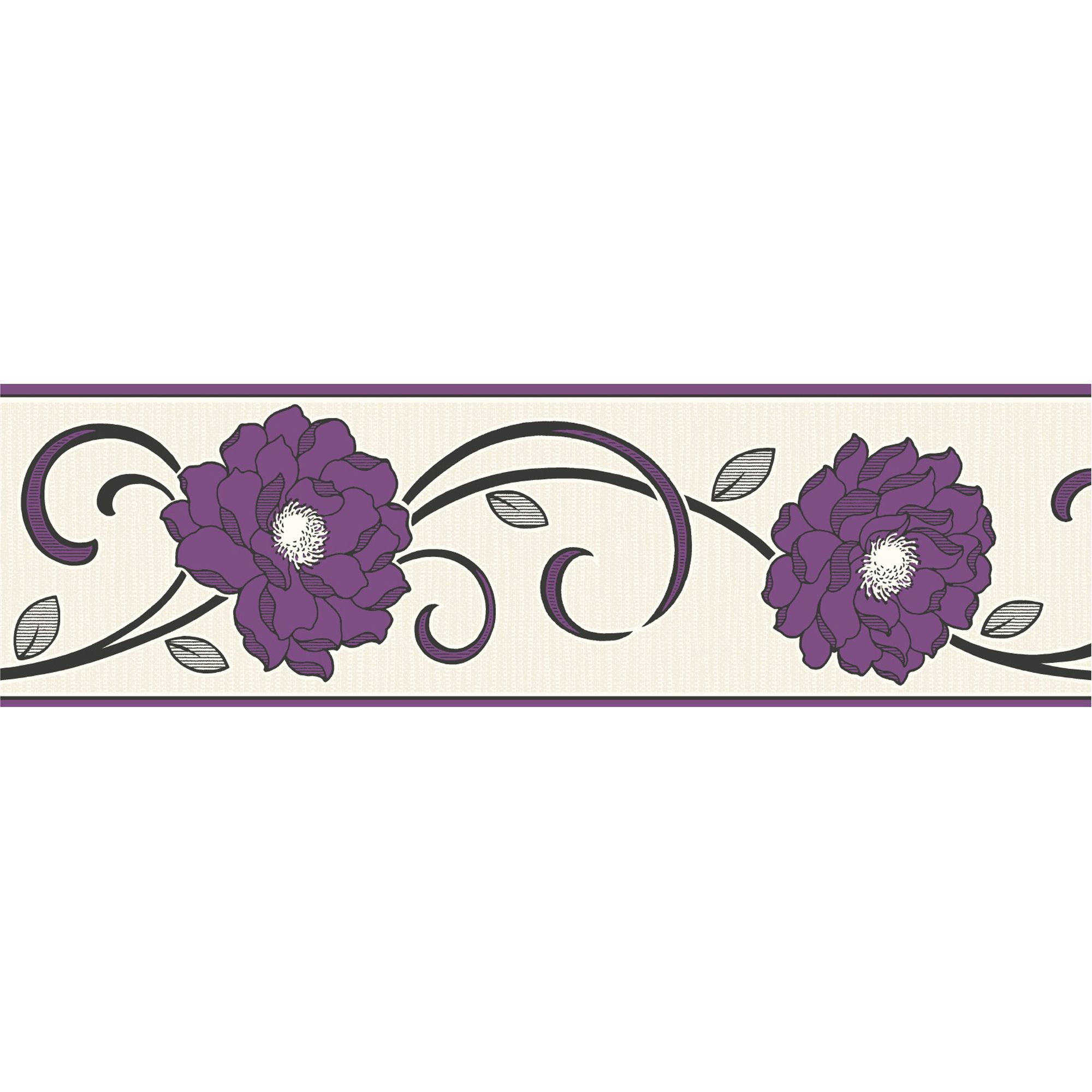 Florentina Cream Plum Floral Border Departments Diy At B Q