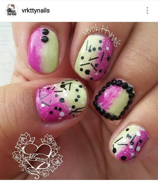 Fun nails : Gradient nails topped with confetti top coat and studs ...