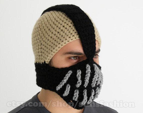 Bane Mask Batman Crochet Beanie Hat Slouch Mens Handmade Winter Men  Snowboard Ski Hat unisex comics fashion 432a6fdd4b6