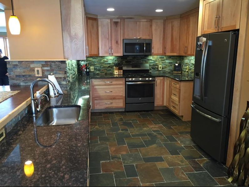 A Copper Rust Kitchen With Architectural Facing Backsplash And Versailles Floor Pattern Thetile