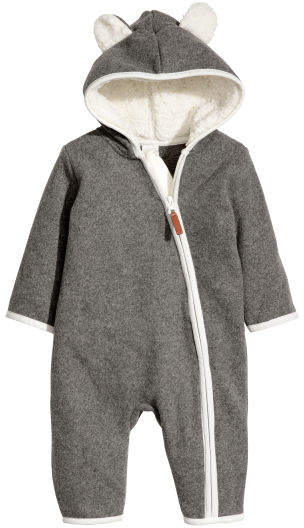 a8c57829c H M Hooded fleece all-in-one suit - Gray