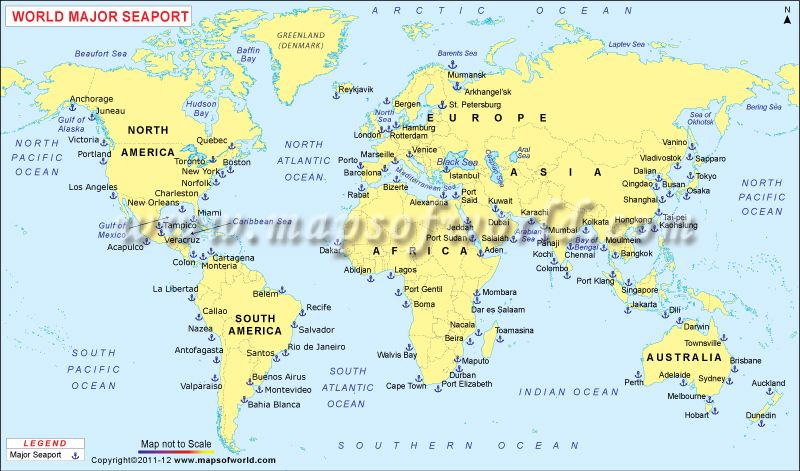 World Map Shows The Major Seaports Around The World Thematic - Brazil main ports harbour map