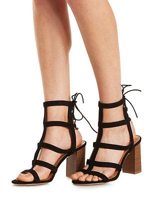 48c9ff18a61 These seem like they should be on the runway// Stacked Heel Gladiator  Sandals: Charlotte Russe