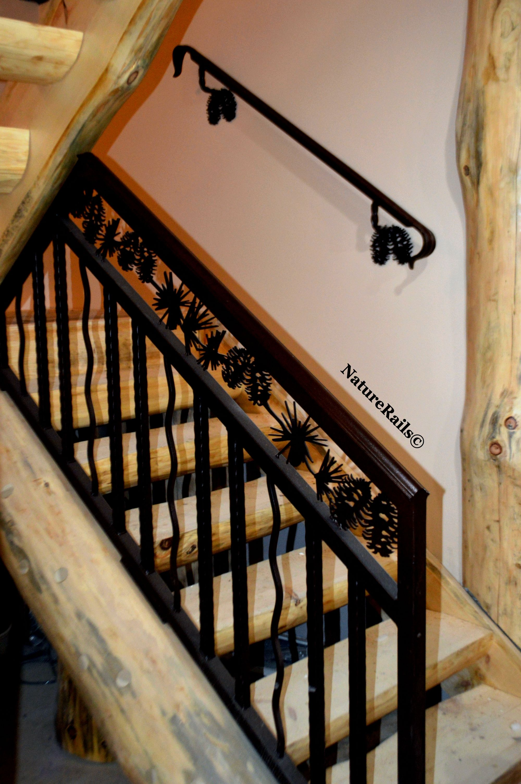 Custom Stair #railing With Spindles And Pine Cone Border. Powder Coated  Steel Means No Maintenance Or Painting Ever With Easy Installation.