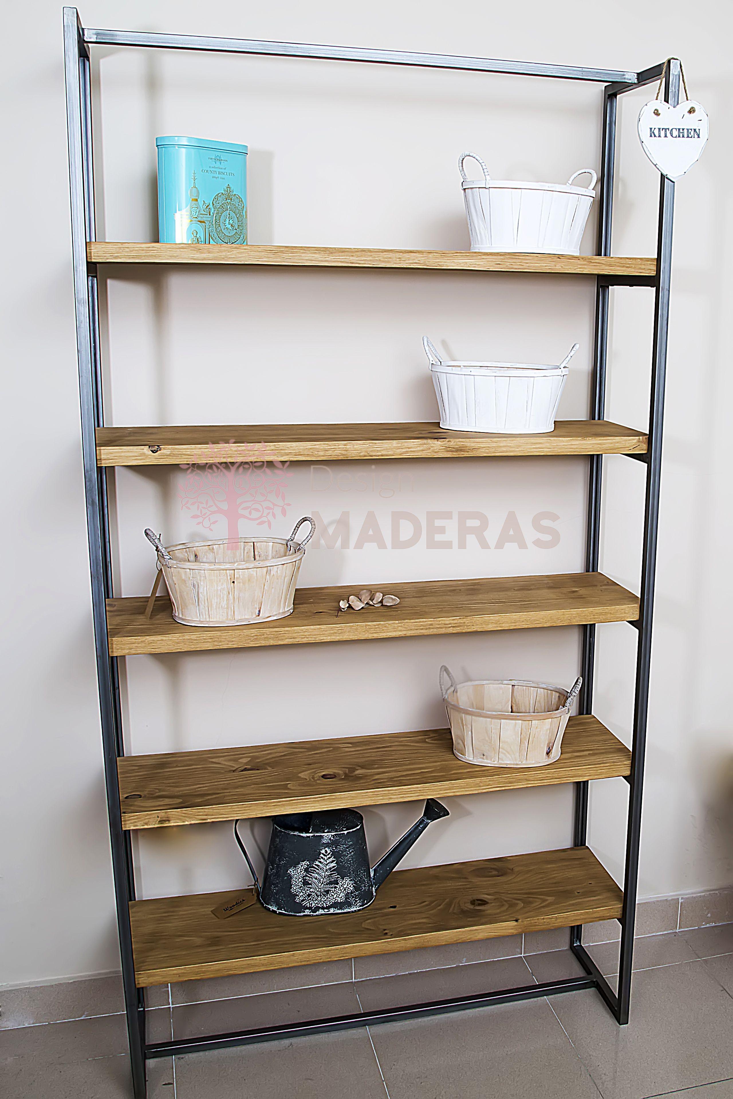 Estanter a de madera maciza de pino con estructura de hierro natural el dise o y la robustez - Estanteria madera maciza ...