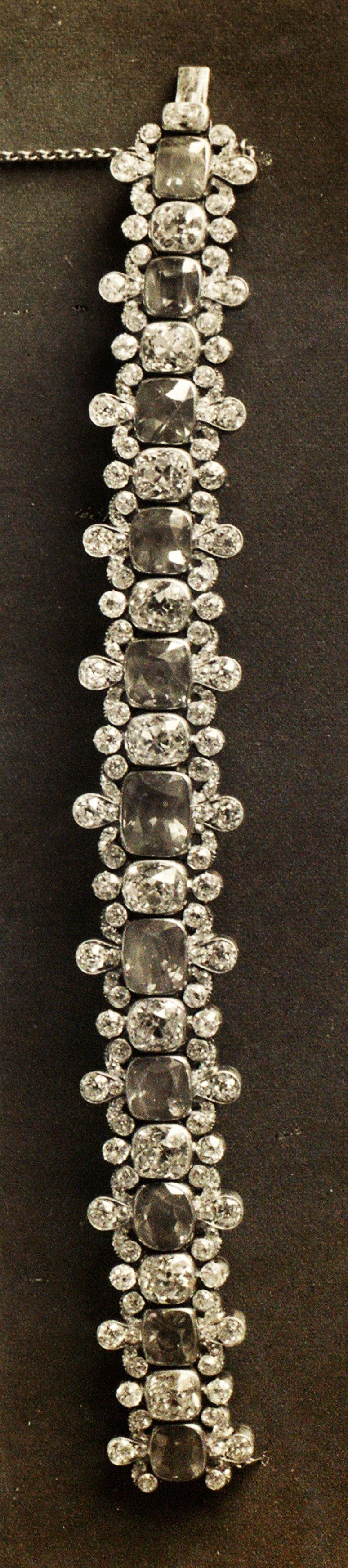 """Previously undiscovered photo of undocumented Russian Crown Jewels were recently discovered in the USGS library. The photo appear in a 1922 album called """"Russian Diamond Fund,"""" that was uncovered in the rare book room of the library. This bracelet was one of the four undocumented jewels."""