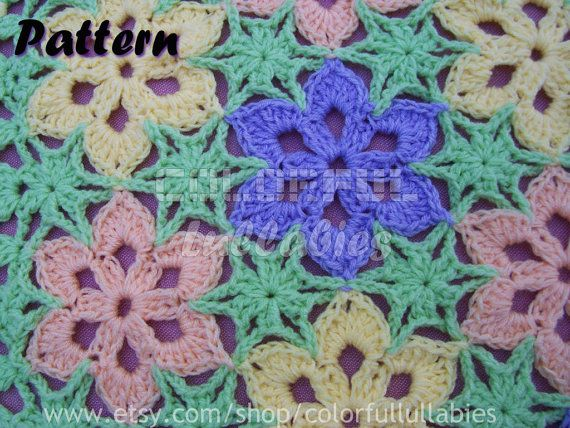 PDF Crochet Pattern. Flower blanket. How crochet the stars without cutting the thread. $9.99, via Etsy.