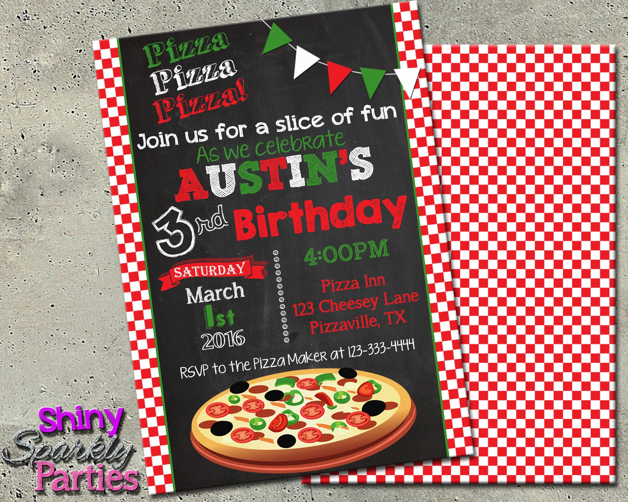 Pizza Party Birthday Invitation Digital File Only