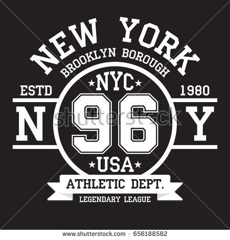 0aabee681 New York, Brooklyn typography for t-shirt print. Sports, athletic t-shirt  graphics. Vector