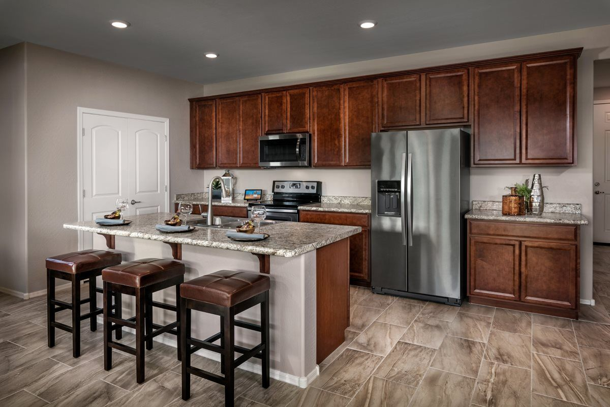 KB Home medium brown kitchen cabinets (With images) | Kb ...