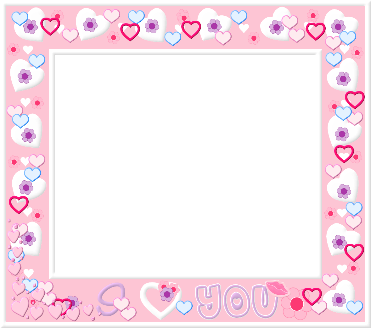 Free Pink and White Heart Frame Valentine Day Border | Ideas for the ...