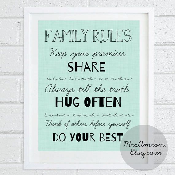 Family Rules Digital Print 8x10   family print /family quote by MrsAmron, $6.00