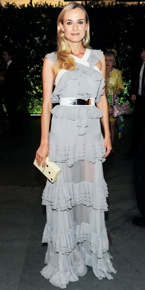 Diane Kruger honored Quentin Tarantino at the MoMA Film Benefit in Prabal Gurung's tiered silk chiffon gown and a spotted box clutch.