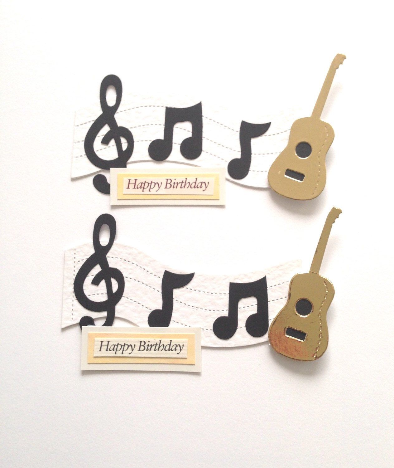 2 Large Music Lover Guitar Note Happy Birthday Die Cut Card Toppers For