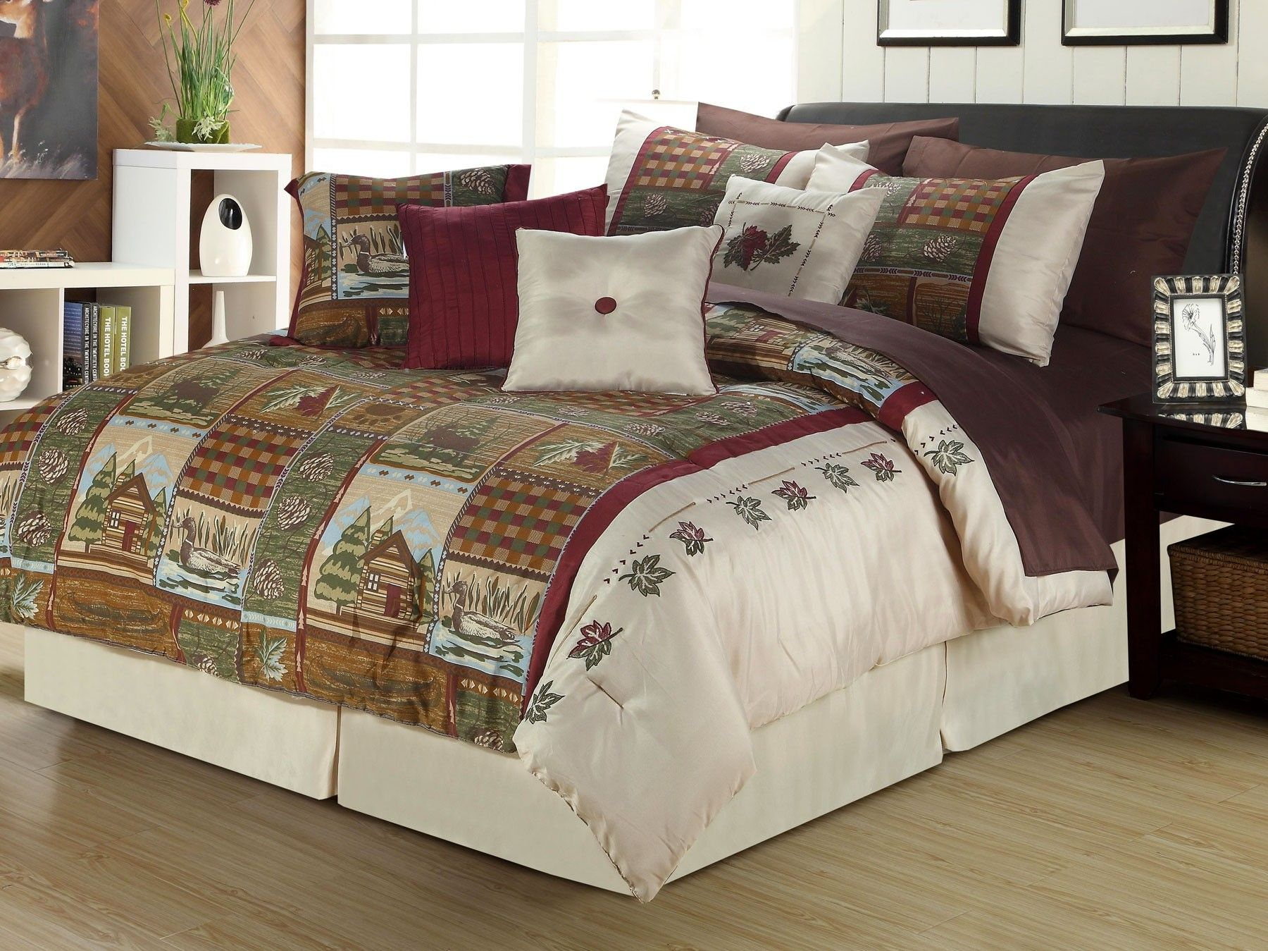 cabin warm log patchwork quilt bedding comforters click multi cabins to expand p