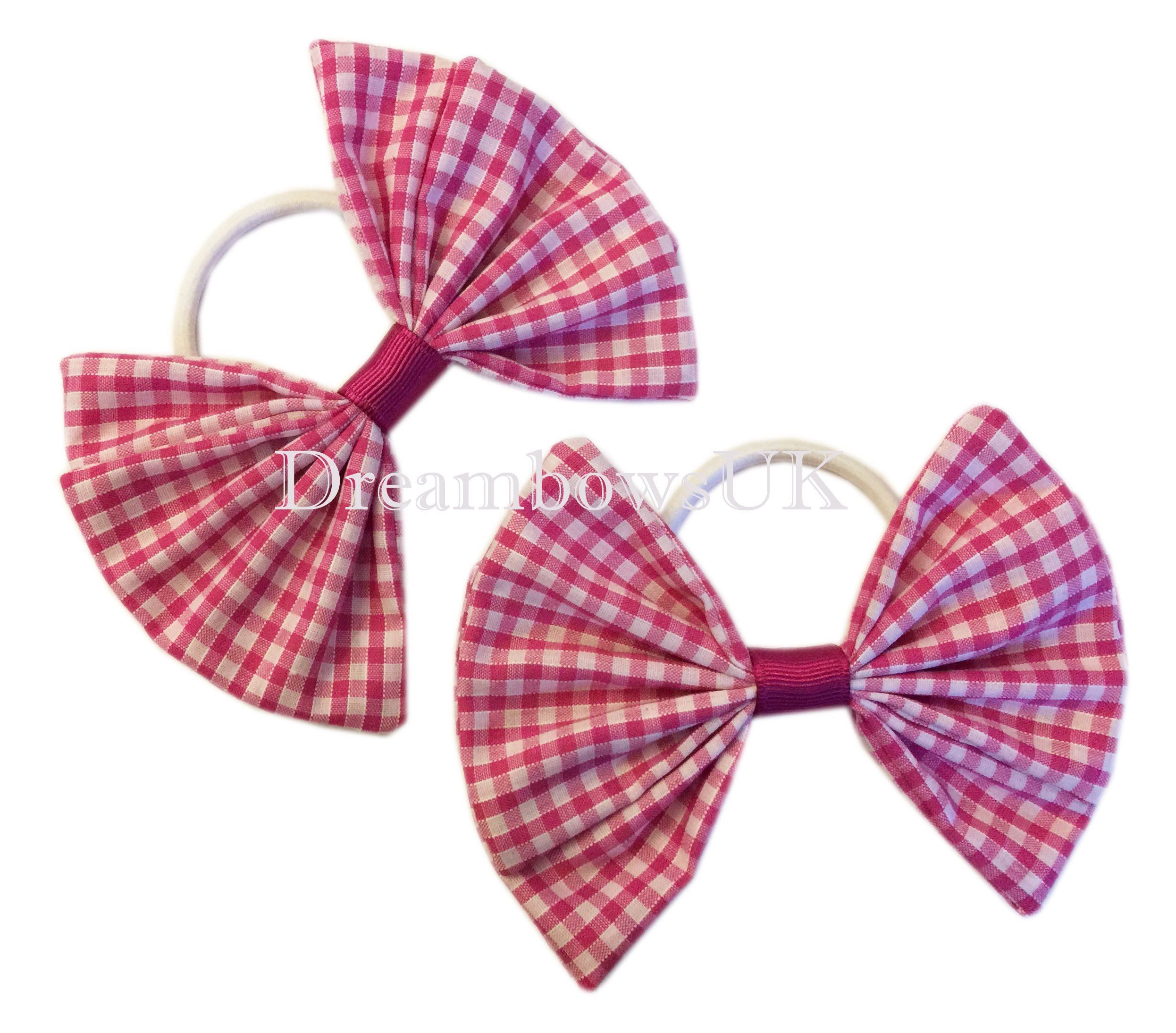 Red and white gingham bows on alligator clips or bobbles gingham accessories