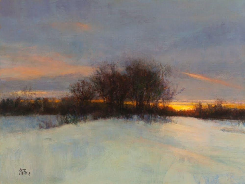 Winter Evening Afterglow Oil Linen 18 X 24 By Peter Fiore Winter Landscape Painting Oil Painting Landscape Landscape Paintings