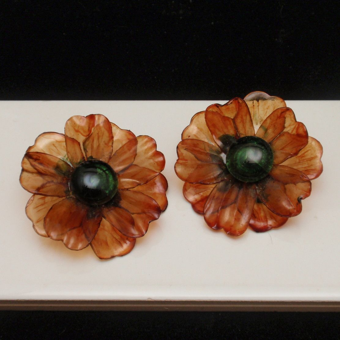 fashion jewelry fall color flower large artisan pin friendly rust handmade eco earrings paper quilled