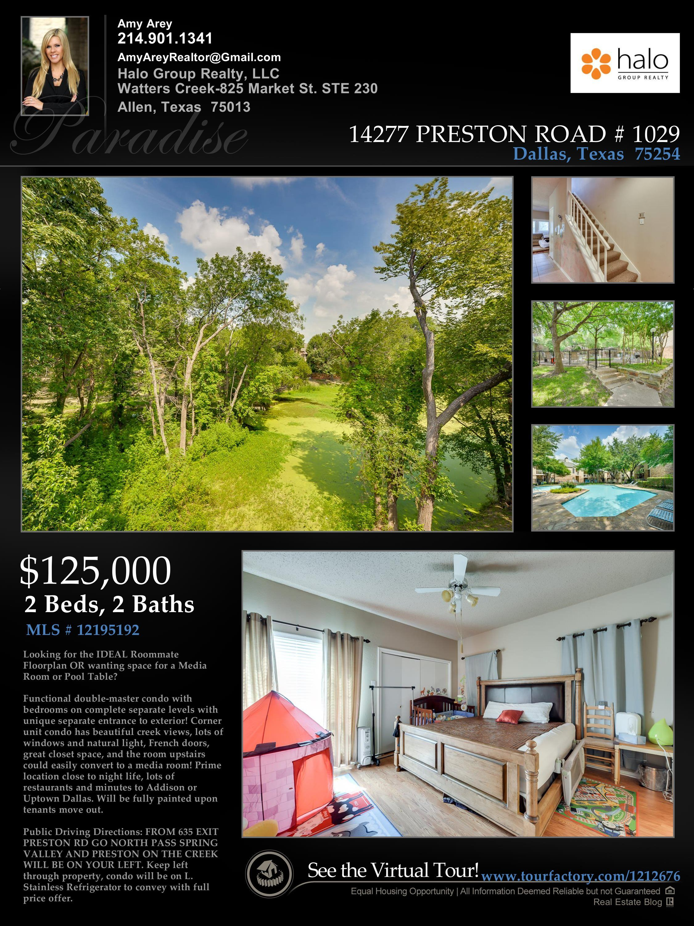 New Addison Area Condo Listing | $125,000  Double Master and Great View!
