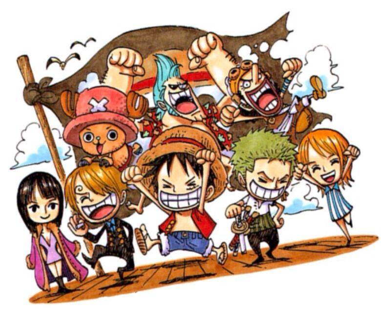 Luffy, Zoro, Nami, Usopp, Sanji, chopper, Robin, Franky