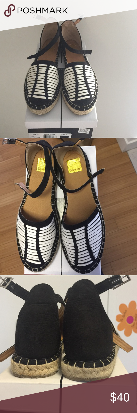 DV by Dolce Vita Kids Benet Espadrilles Sandal Black and White Leather and Suede Espadrilles with Adjustable Straps DV by Dolce Vita Shoes Sandals & Flip Flops