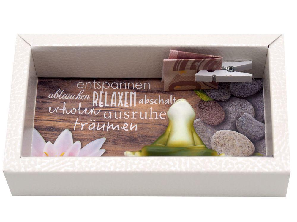 Geldgeschenk Verpackung Wellness Entspannung Yoga Frosch Gutschein