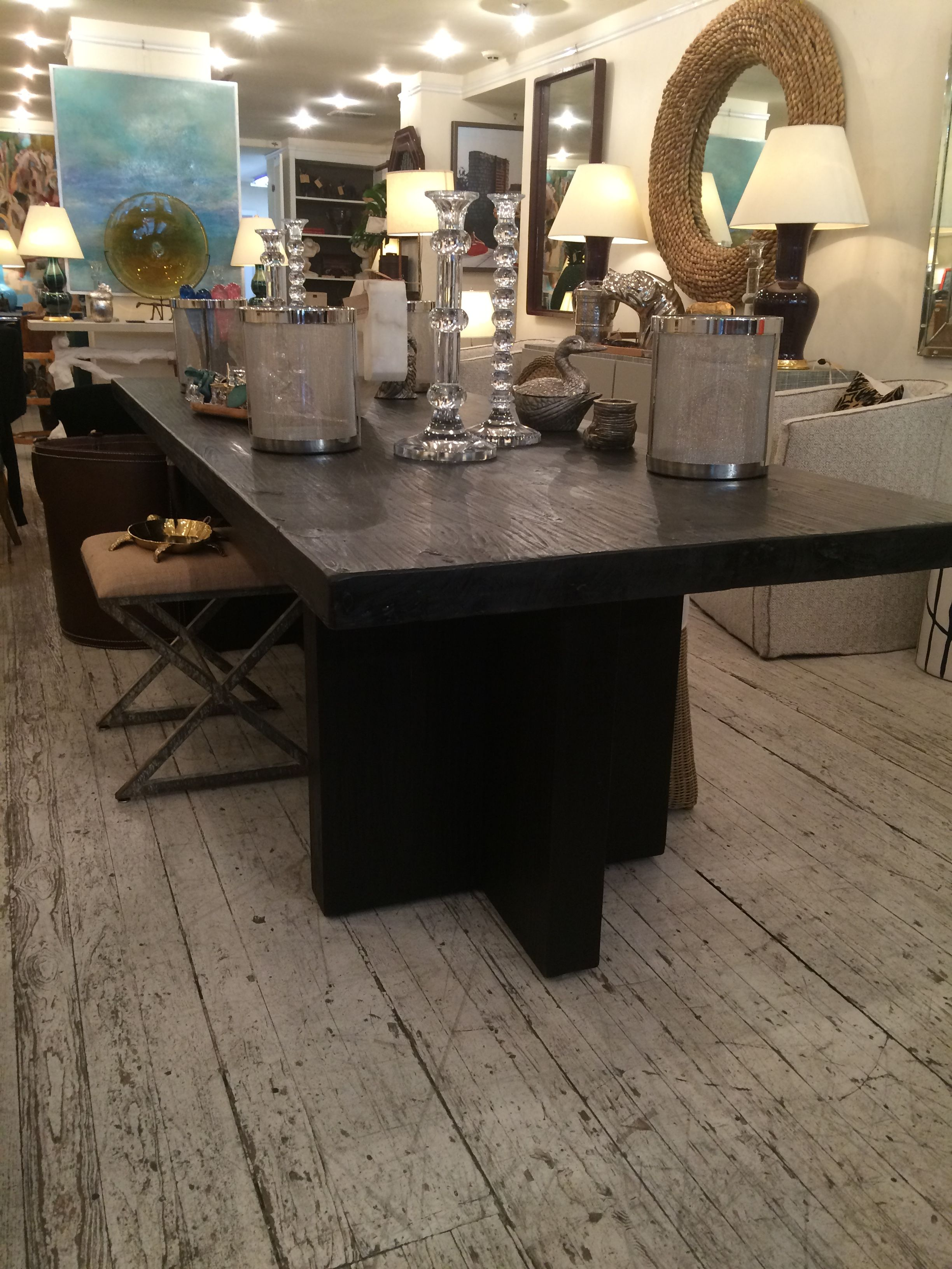 Charcoal Finished Wooden Plank Dining Table  Mecox Gardens Amazing Plank Dining Room Table Design Inspiration