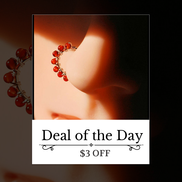 Today Only! $3 OFF this item.  Follow us on Pinterest to be the first to see our exciting Daily Deals. Today's Product: Beaded Silver Nose Ring Wrapped with Carnelian Buy now: http://www.rockyournose.com/products/beaded-silver-nose-ring-wrapped-with-carnelian?utm_source=Pinterest&utm_medium=Orangetwig_Marketing&utm_campaign=Wrap%20Me