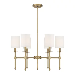 8 Light Transitional Chandelier Warm Brass With White Shade Transitional Chandeliers By Designer Ligh Transitional Chandeliers Chandelier Light Fixtures
