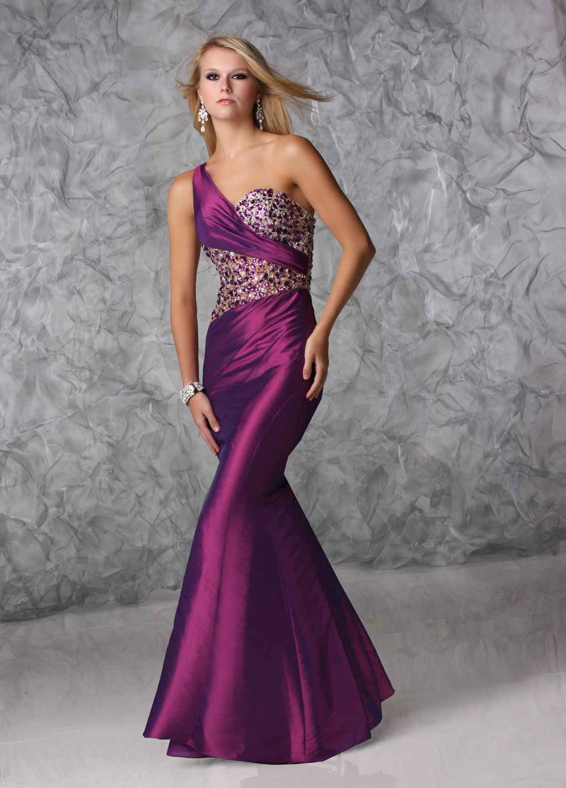 Chic one shoulder purple trumpet mermaid prom dress cxc