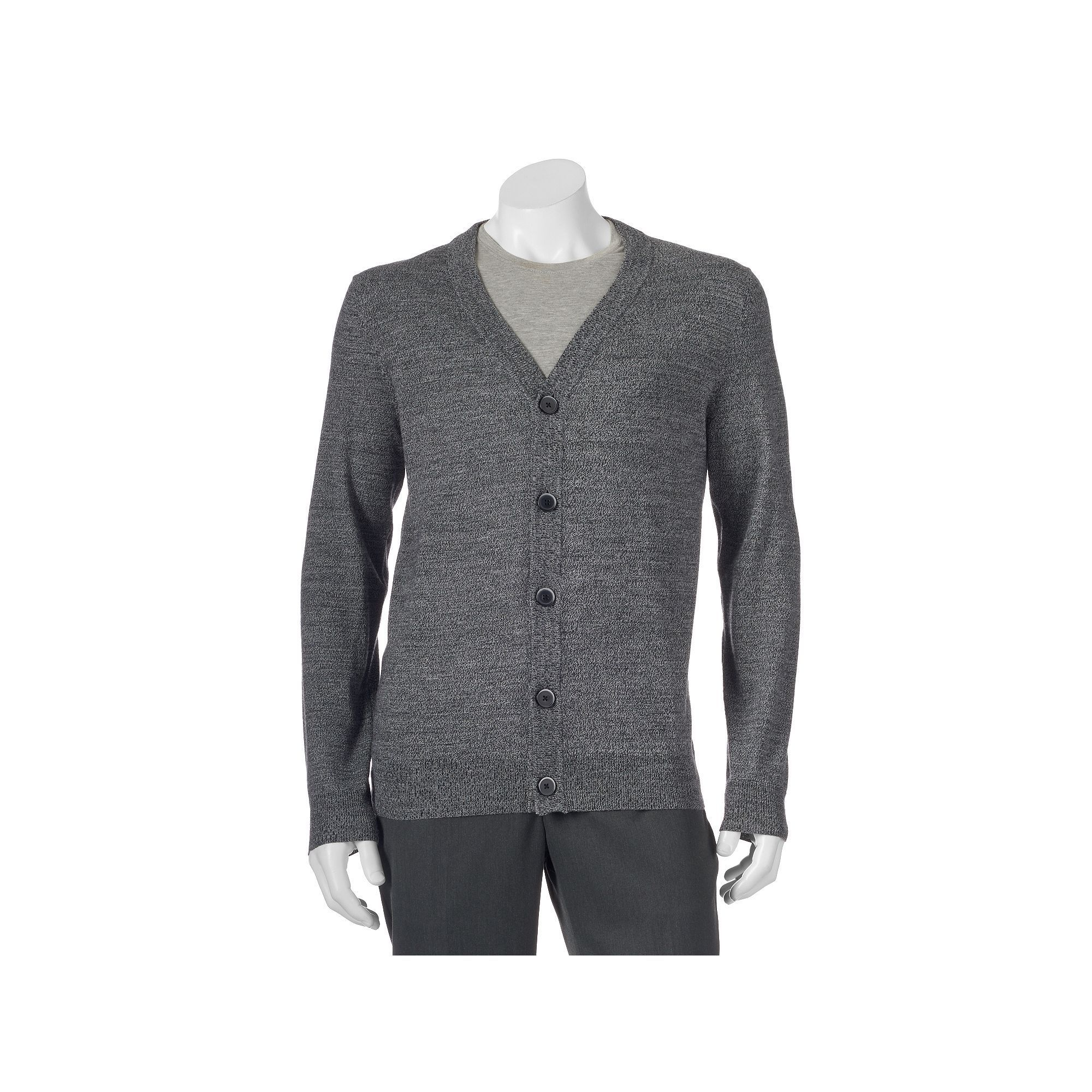 Big & Tall Apt. 9 Modern-Fit Marled Merino Cardigan Sweater, Men's ...