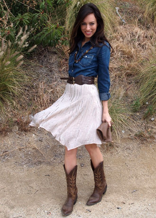edcc6a0e97da How to wear a denim shirt beaded skirt cowboy boots J. Crew Club Monaco