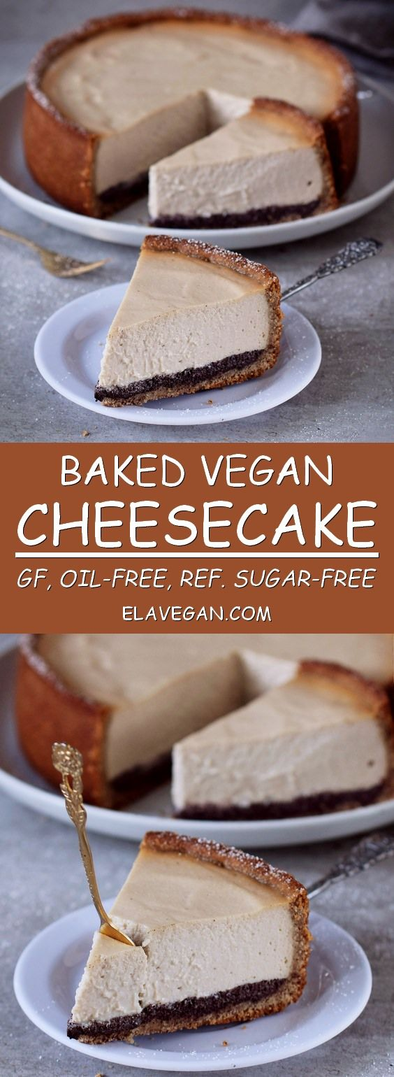 This baked vegan cheesecake with a delicious poppy seed layer is a wonderful light/airy cake and perfect for warm summer days. Also great for a birthday party. The cake is vegan, gluten-free, oil-free, refined sugar-free and easy to make.