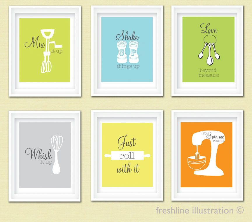 Kitchen wall art funny mix it up just roll with it by for Kitchen wall art sets