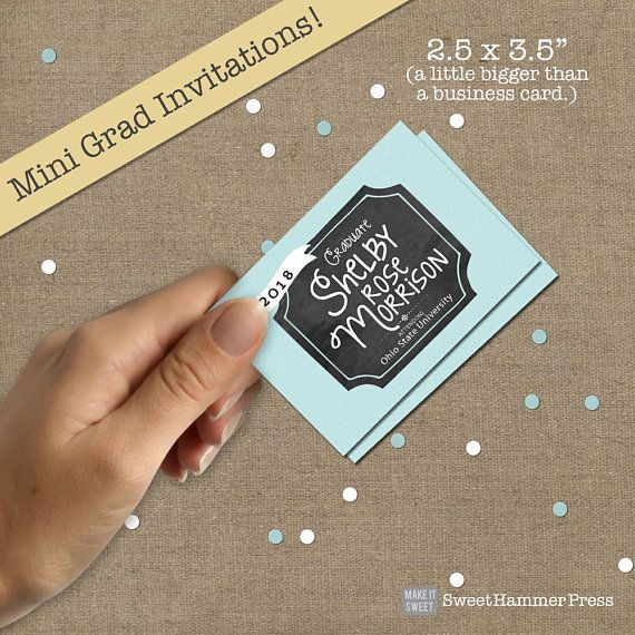 Mini graduation invitations with no photo are similar to trading bigger than a business card they are the perfect size to hand out to your friends at school for your graduation party reheart Gallery