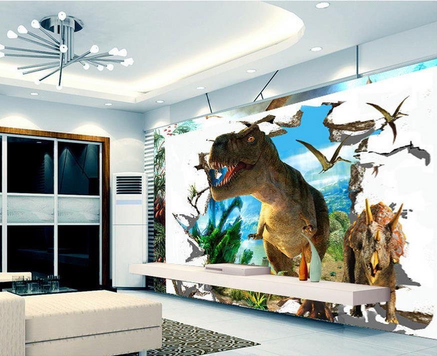 Pas cher 3D papier peint, 3D murale rétro 3D brique dinosaur