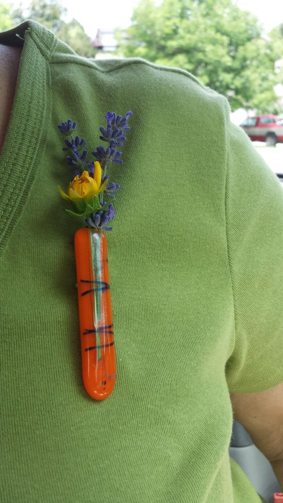 Fused Glass Lapel Pin Vase one of a kind jewlery by MoonRiverArt, $19.00