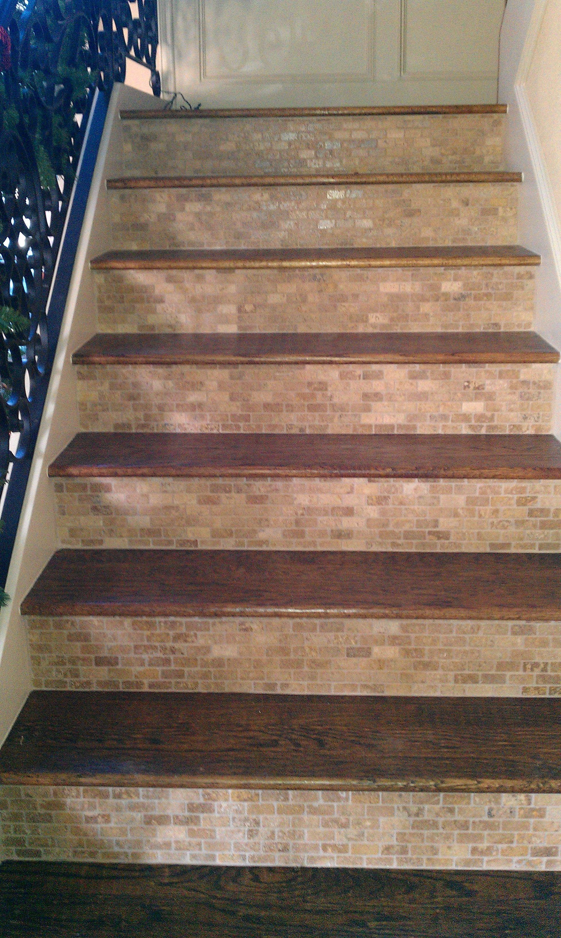 Wood And Tile Stairs Check Out Deck Railing At Http://awoodrailing.com