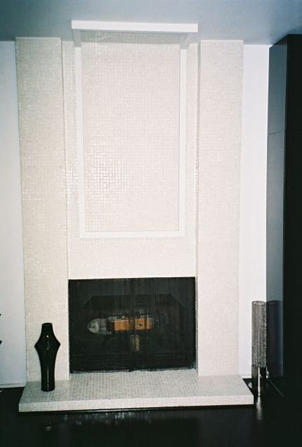Gl Mosaic Tile On Hearth The White Would Scare Me Seems Like It