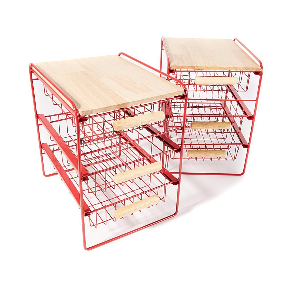 Origami 3 Drawer Countertop Organizer With Wooden Shelf 2 Pack