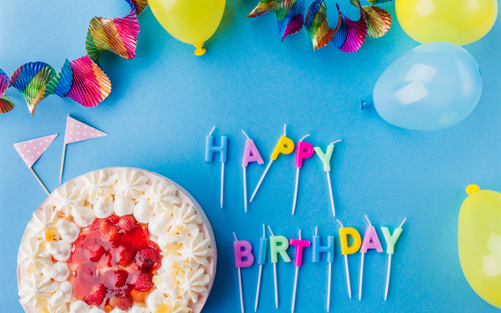 Download Wallpapers Happy Birthday Holiday Concepts Cake Candles Balloons Birthday Concepts Besthqwallpapers Com Birthday Greetings Happy Birthday Images Happy Birthday