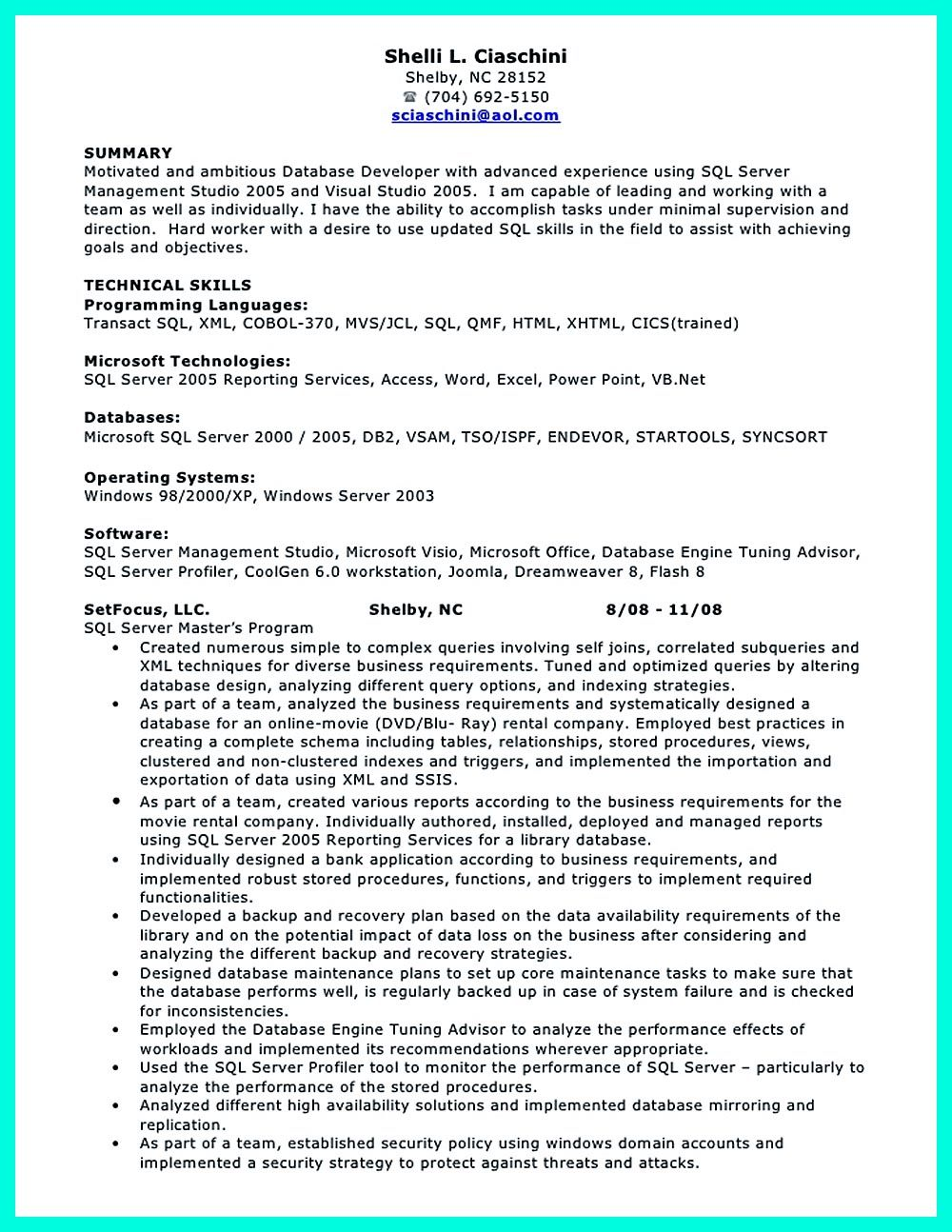 Resume Ge Database Developer Resume Here Can Be Used By Professionals To