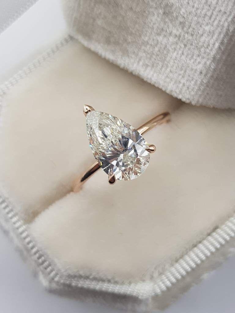 2.15 Carats Pear Shape Hidden Halo Diamond Engagement Ring